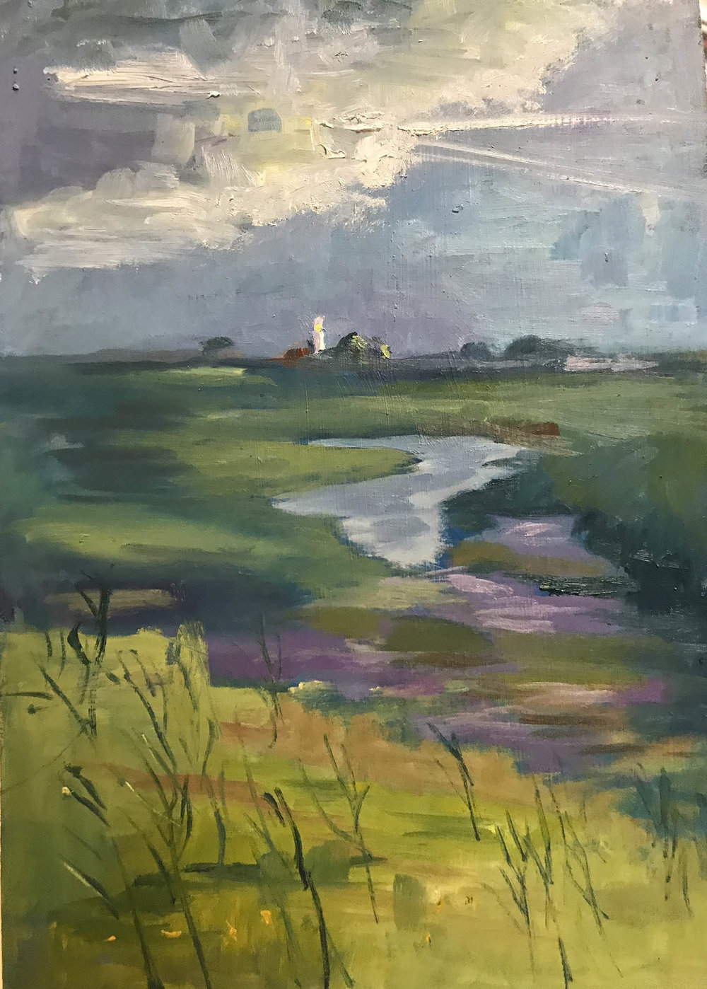 Across the Marshes , Oil on board, 31 x 20 cm