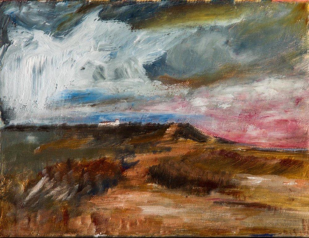 Dunwich Heath , Acrylic on canvas, 25 x 31 cm