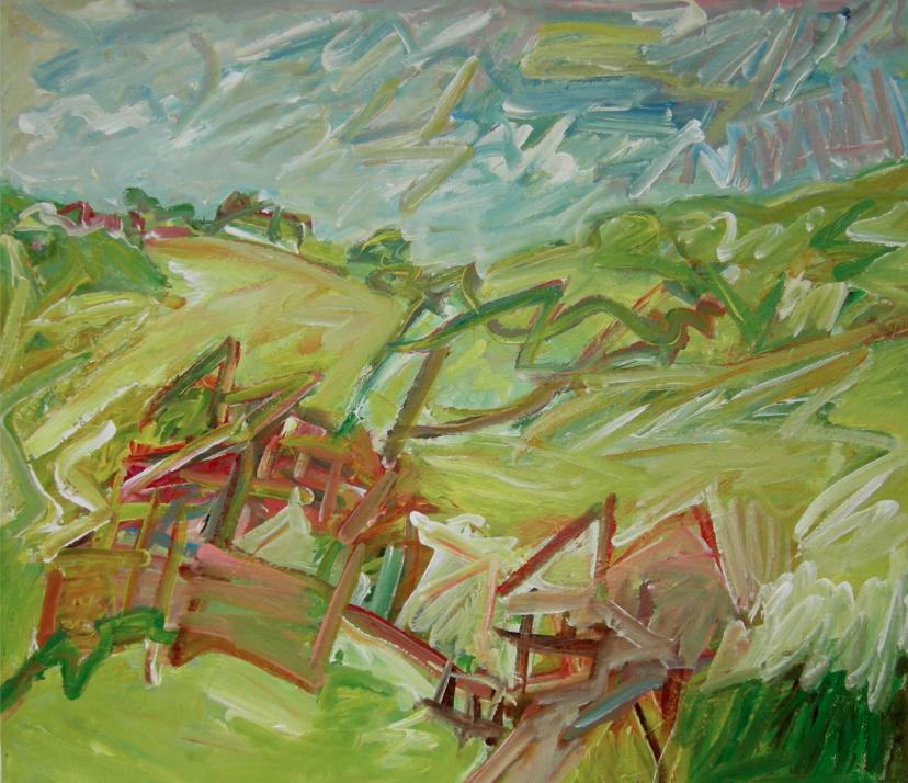 Footpaths , Acrylic on canvas, 76 x 88 cm