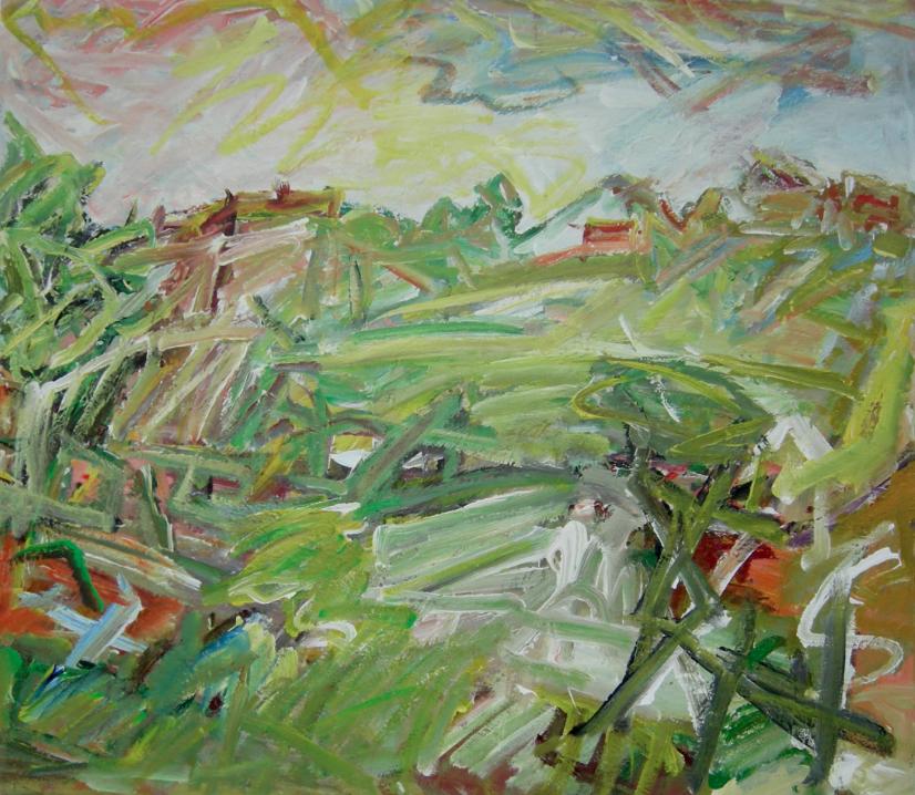 Rising Fields , Acrylic on canvas, 76 x 88 cm