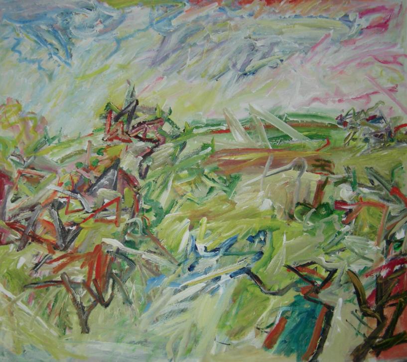The Hill,  Acrylic on canvas, 92 x 105 cm
