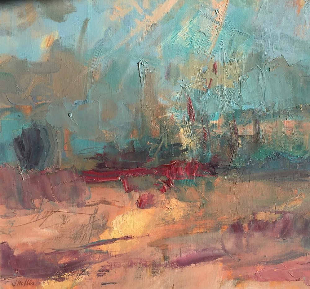 Alizarin Landscape , Oil on paper, 51 x 50 cm