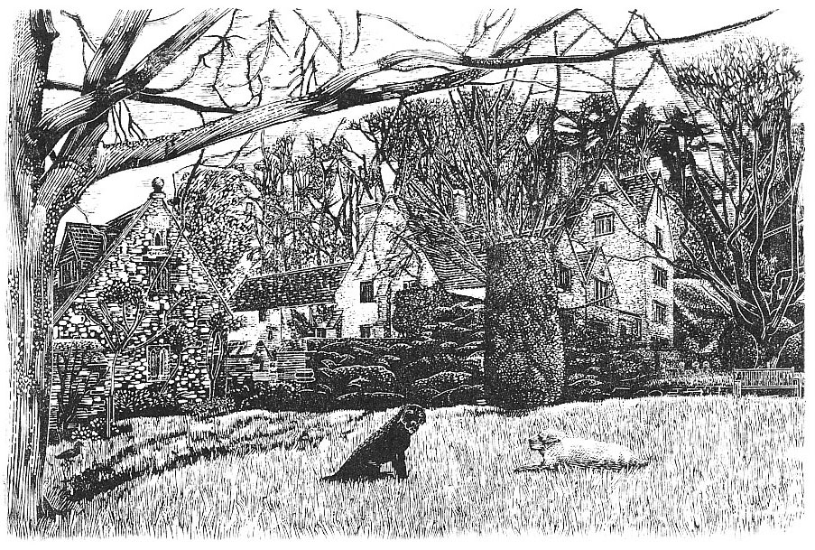 Daneway House, Gloucestershire , Wood engraving, 10 x 15 cm