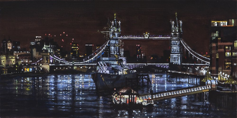 London Bridge , Oil on linen, 16 x 8 in, For sale