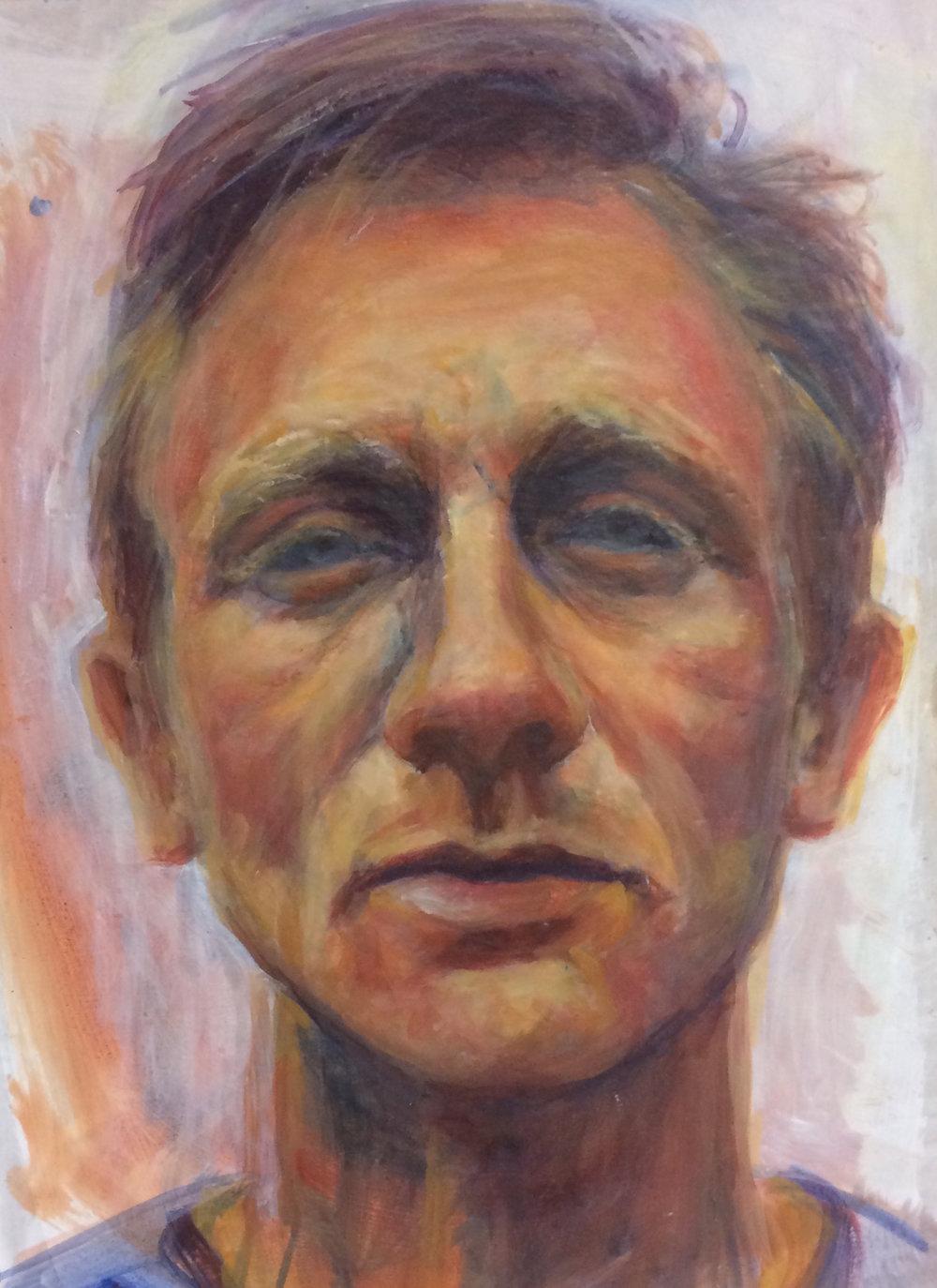 Daniel Craig,  Oil on card, 24 x 34 cm