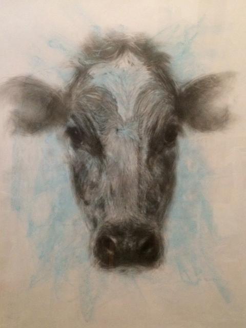 Farm Visit , Graphite and pastel on paper, 40 x 52 cm