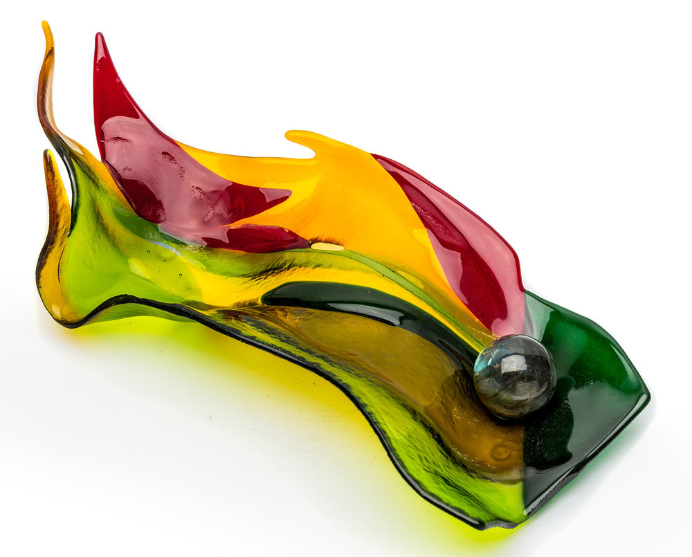 Leaf Form 2 , Fused/slumped glass with glass sphere, 37 x 14 cm