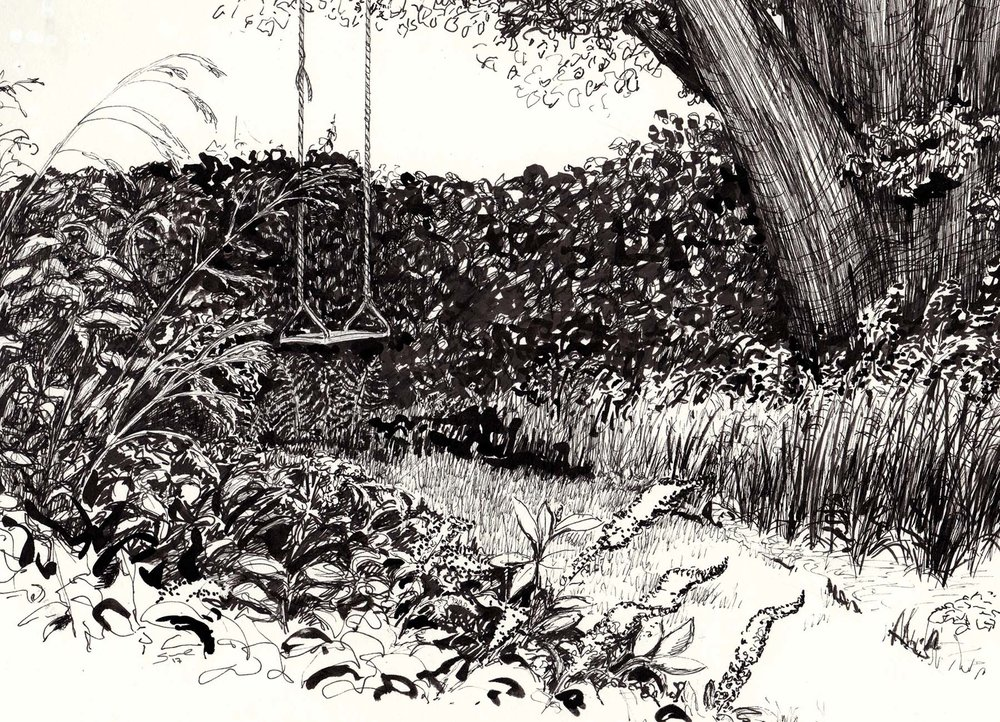 Bev's Swing , Pen and ink on paper, 17.4 x 24 cm