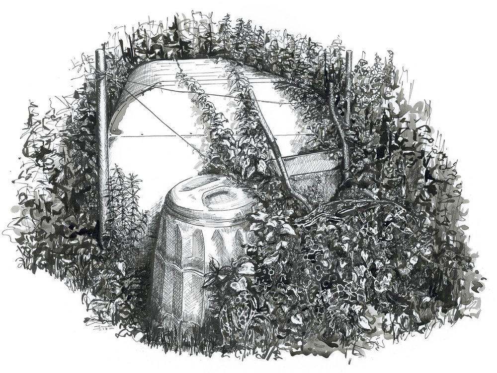 Nissen Hut , Pen and ink on paper, 36 x 24 cm