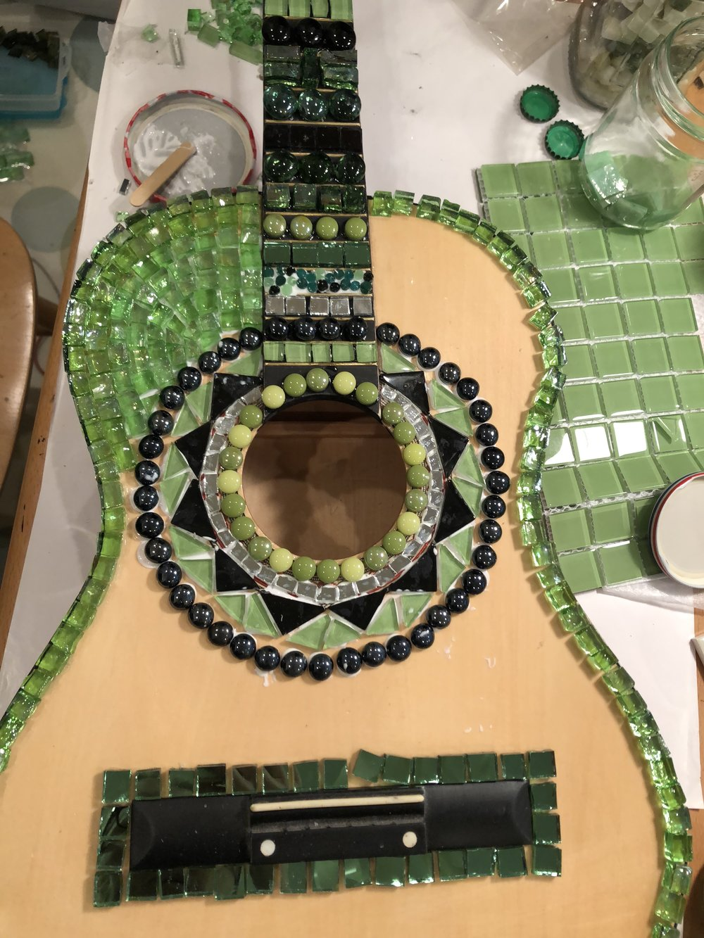 always wanted to mosaic a guitar, here is the start