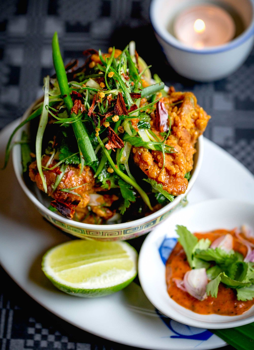 'Gai Prik', Crispy Free-Range Chicken Bites with Burnt Chilli Sauce