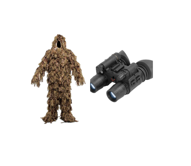 The nighthawk Package has the tools you need to successfully complete any mission without a trace. Used by the united states military, and the navy, our products are certified and tested. With the combination of a surveillance favorite, and our new and improved ghillie suit, you can become your environment. Save over $200 - NightHawk Package$749.99