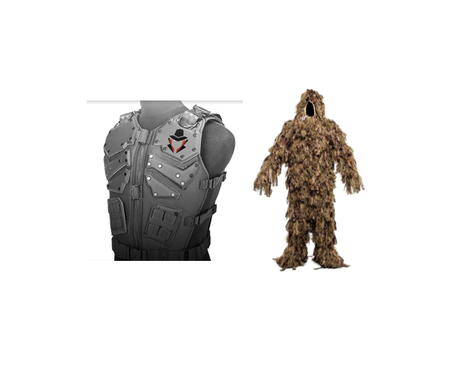 wANT TO WITHSTAND THE WORST? pURCHASE THE uLTIMATE pROTECTION PACKAGE. tHE pACKAGE COMES WITH AN aPOLLO - cERTIFIED bULLETPROOF vEST, AND THE GILLIE sUIT, oUR lATEST pRODUCT TO SHOWCASE ON OUR STORES. fEEL iNVINCIBLE WITH OUR pACKAGE. - Ultimate PROTECTION Package$1,249.99