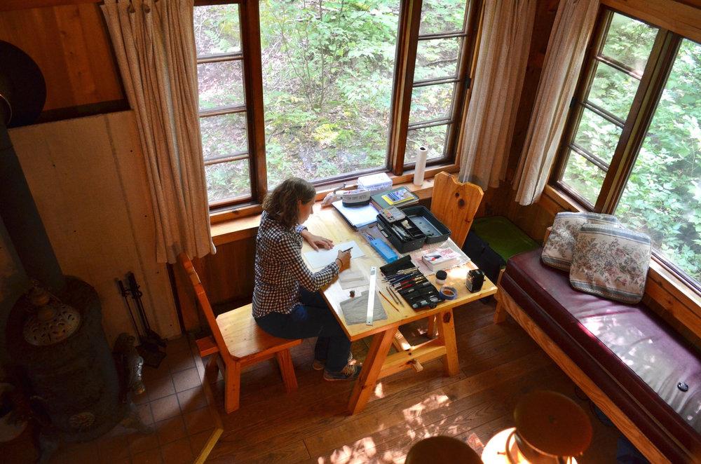 Inside the Artist-in-Residence Cabin
