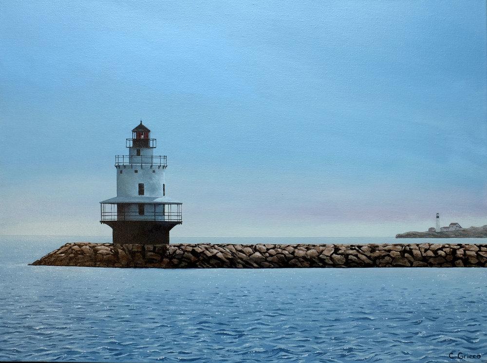 """Spring Point Ledge - 18""""x24"""" acrylic on canvas - Portland Maine (Available)"""