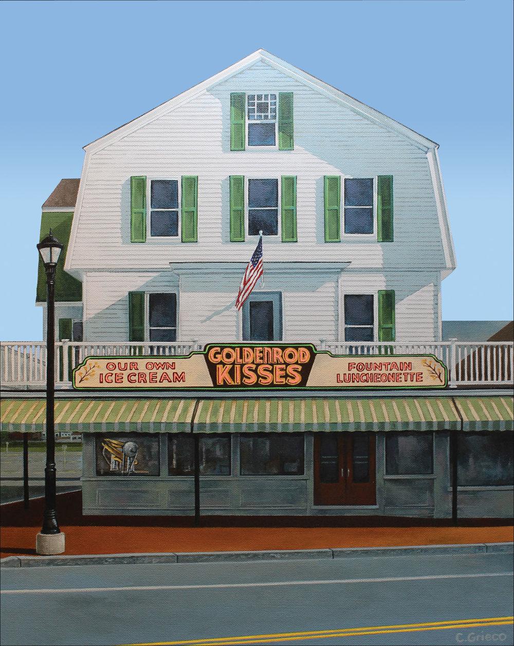 """16""""x20"""" acrylic on canvas - Goldenrod Taffy Machine, York Beach Maine"""
