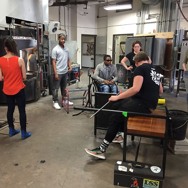 Demo at UW Madison's glass program. #projectfire #endgunviolence #glassblowing