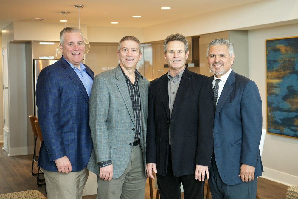 Andrew Luce, Real Estate Director, left. Matthew Arsena, Chief Finance Officer, Richard Simis, Founder and President of Construction, Rudy Medina, Development Advisor