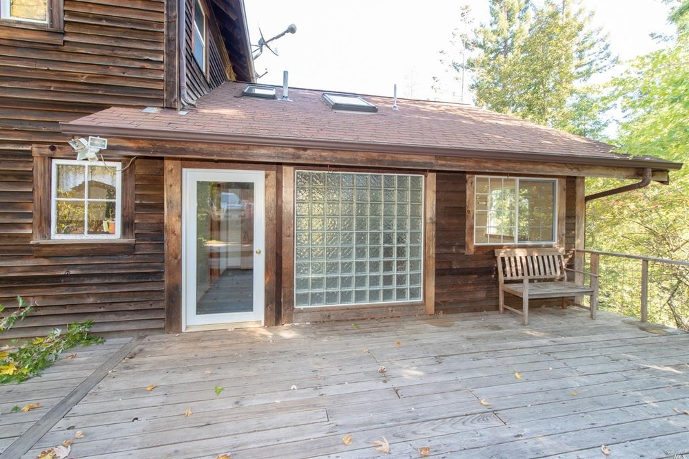 deck of family home for sale, Philo, CA