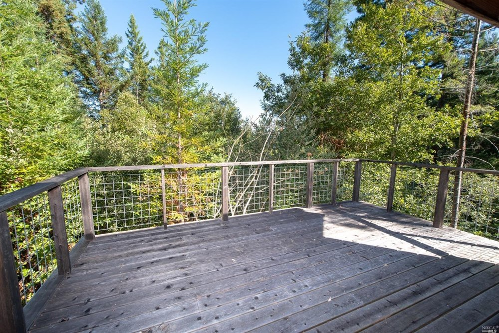 view of forest from the deck of family home for sale, Philo, CA
