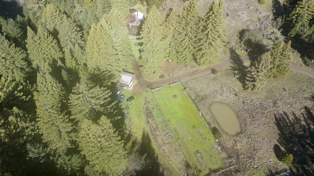 Overhead view of 21 acres with a one acre vineyard and 3 bed, home.