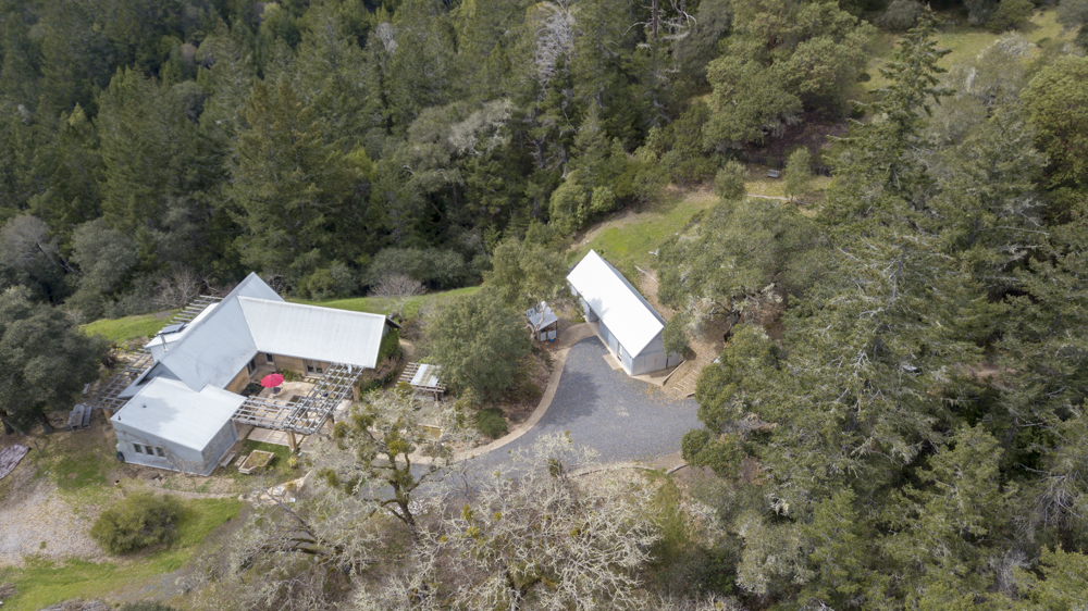 Drone image of the home from above.