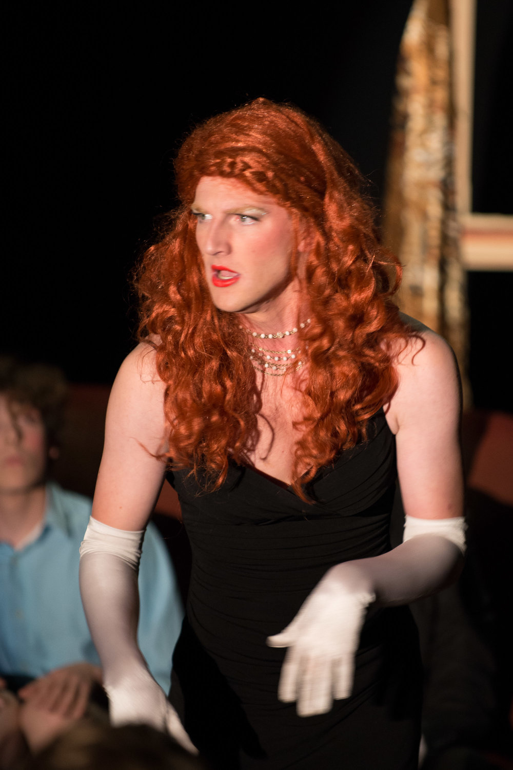 """As Pat in """"Death, and Other Hobbies"""" with BareStage Productions — Photo by Cobalt Imaging"""