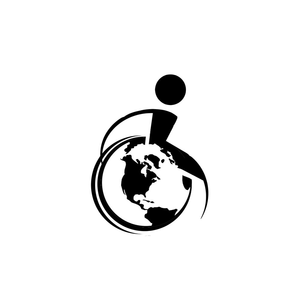 Image of the logo - a wheelchair user symbol, with an image of a globe in the wheel.