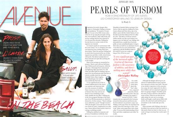 Pearls of Wisdom - Avenue Magazine, August-September 2018