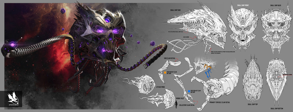 Here is some Breakout Concept Art we did for Warner Brothers NetherRealm Studio on Injustice2 - Brainac Skull Ship Exterior
