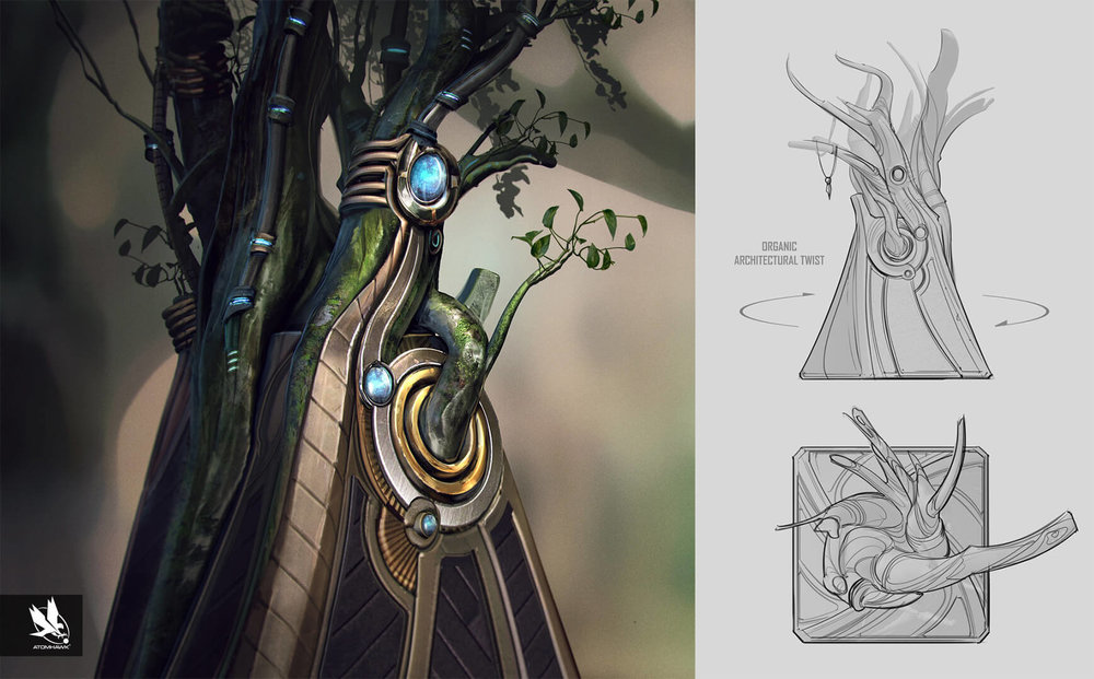 Here is some Breakout Concept Art we did for Warner Brothers NetherRealm Studio on Injustice2 - Grodd's Trophy Room - Tree Pillar