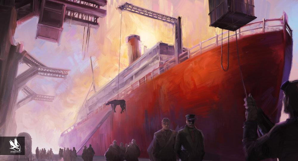 Atomhawk_Aardman_11-11-Memories-Retold_Concept-Art_Key-Moment_Arrival-In-Port.jpg