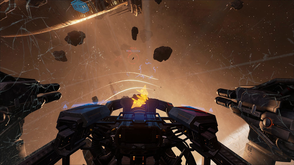 Eve:Valkyrie - UI for VR - Key Art - Space Battle Silhouette