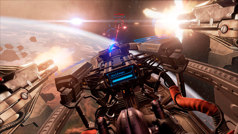 Eve:Valkyrie - UI for VR - Key Art - Space Battle Planetfall