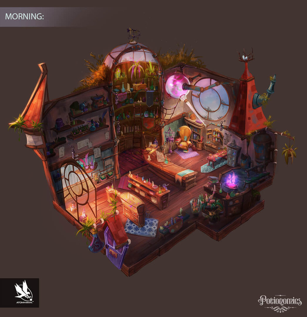 Potionomics -  Concept Art - Potion Shop (Morning)