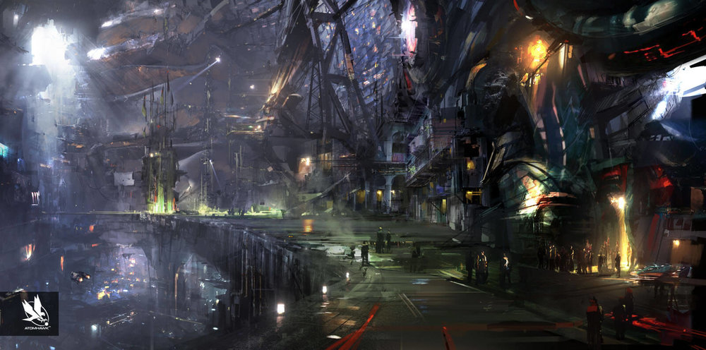 Atomhawk - Guardians of the Galaxy project - Concept Art / Environment Design - Knowhere Street