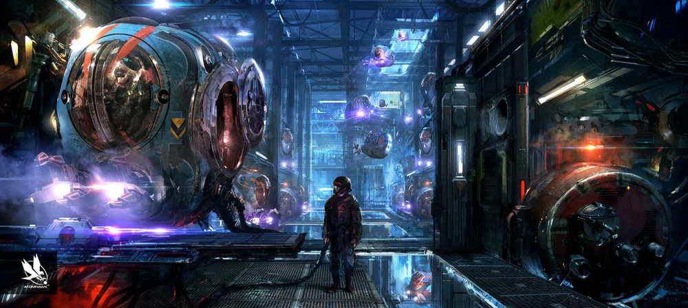 Atomhawk - Guardians of the Galaxy project - Concept Art / Environment Design - Pod Garage