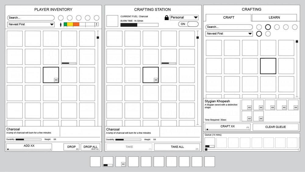 Conan Exiles - UI Design - Wireframe design - crafting station