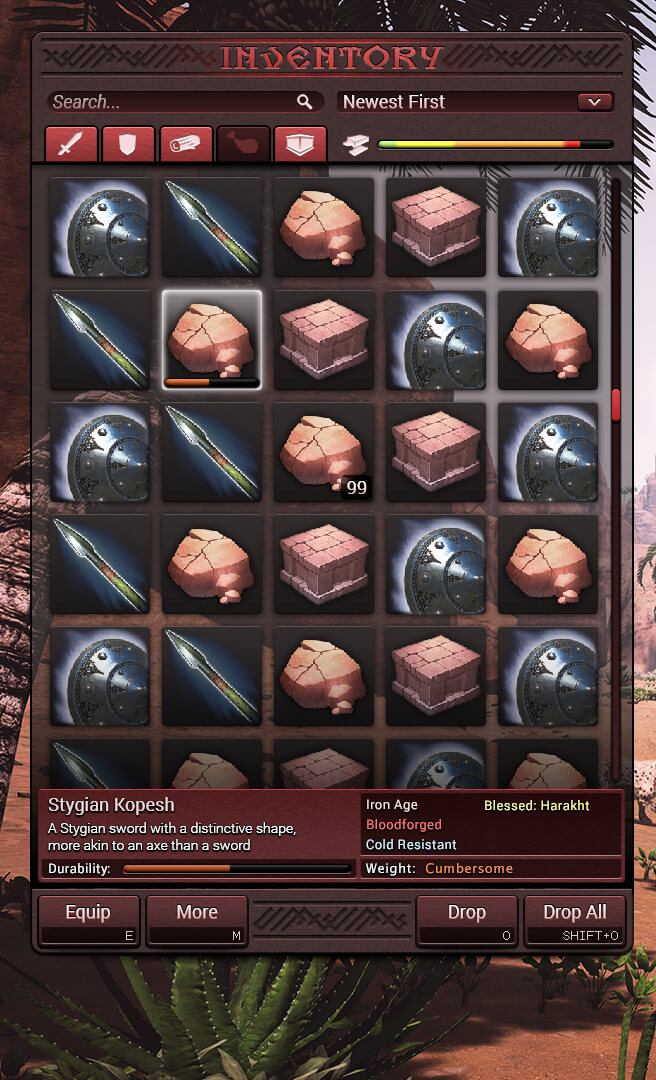 Conan Exiles - UI Design - Inventory Style