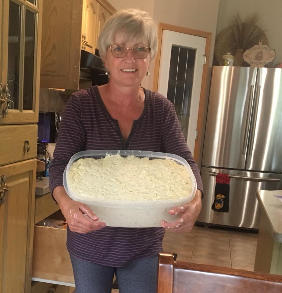 Collette with a fresh batch of pizza dough