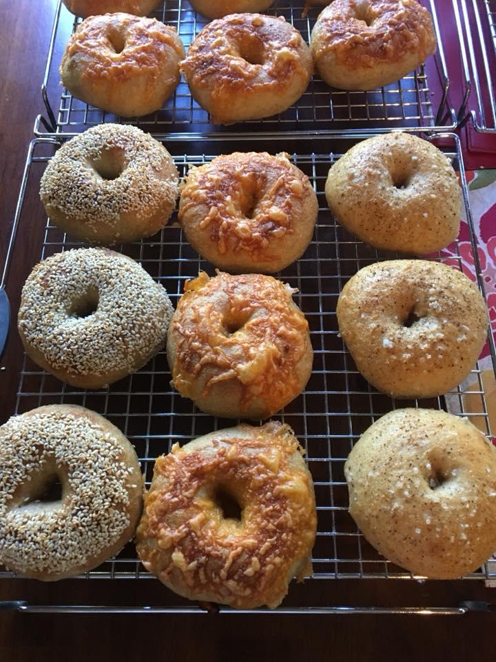 Sesame, Cheddar and Salt and Pepper Bagels