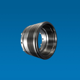 Pressure balanced metal bellows with a graphite seal to the shaft.