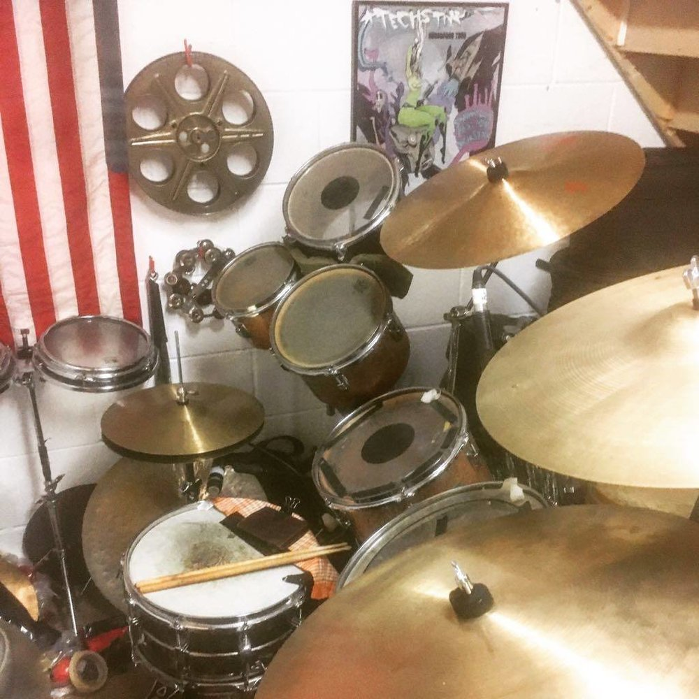 """My Drums  It is a motley collection of mostly 60's Ludwig's with a Premier floor tom. Even though the kit is a hodgepodge, it sounds like a perfect ensemble. The heads are all old AF and the toms are all single headed. The cymbals are mostly 60's Paiste Formula 602 with the odd 60's Zildjian & an early 80's 19"""" 2002 crash. Vintage brass for the win."""