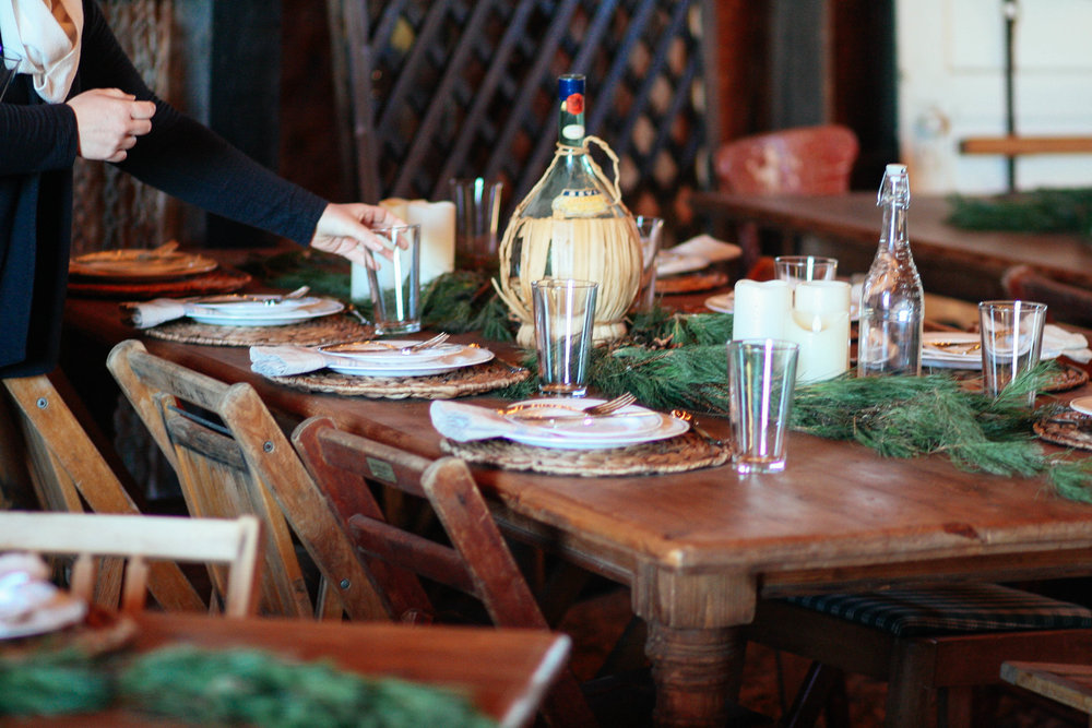 Setting the table and atmosphere for a fabulous holiday party for longtime clients and and established family business in Sherman.