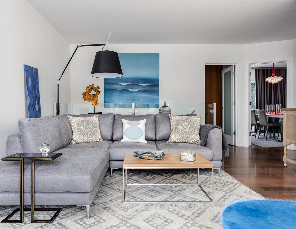 Living Room Blue White Modern Jennifer Gustafson SF Bay Designer