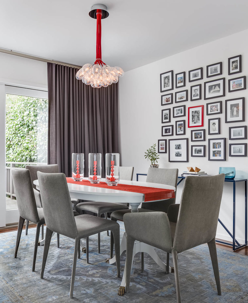 Dining Room Red White Modern Jennifer Gustafson SF Bay Designer