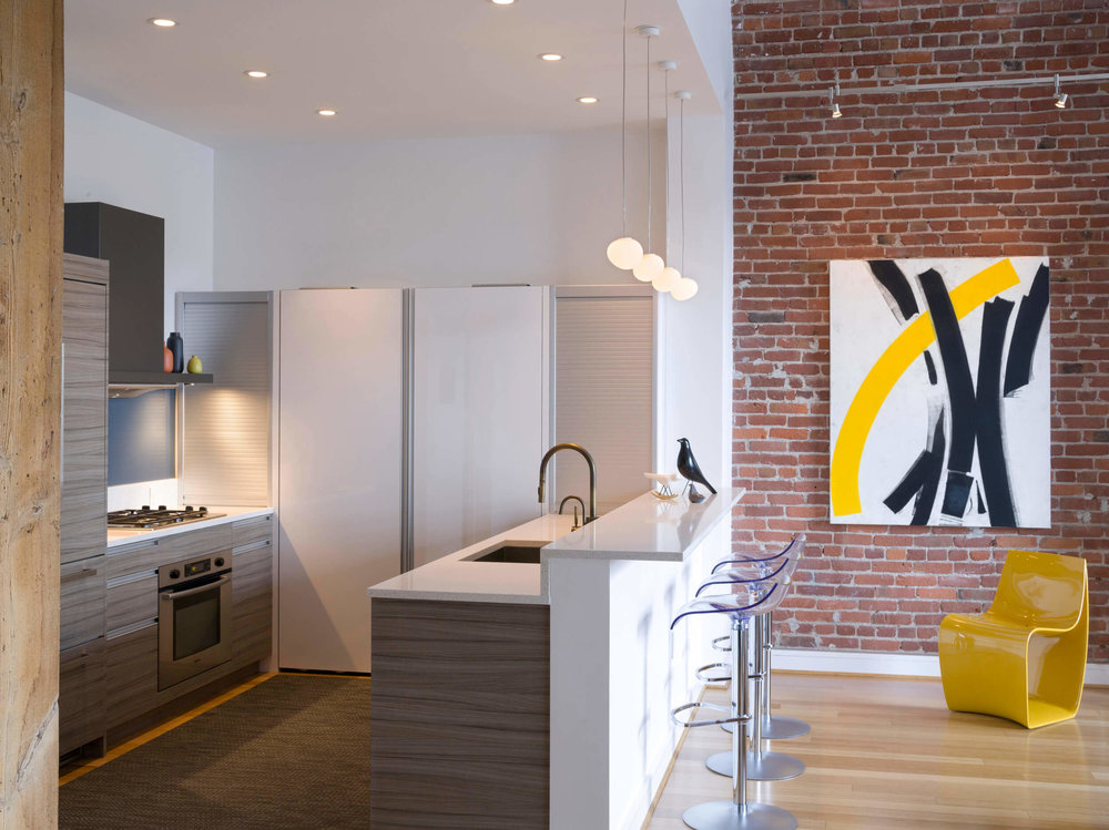 Kitchen White Modern Loft Jennifer Gustafson SF Bay Designer