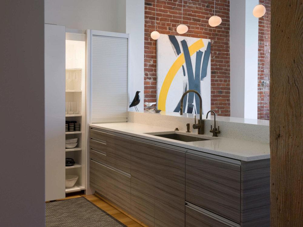 Kitchen White Modern Loft Jennifer Gustafson SF Bay Designer