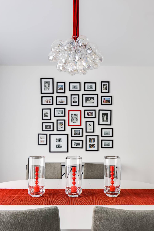 Dining Room Red White Modern Jennifer Gustafson SF Bay Designer