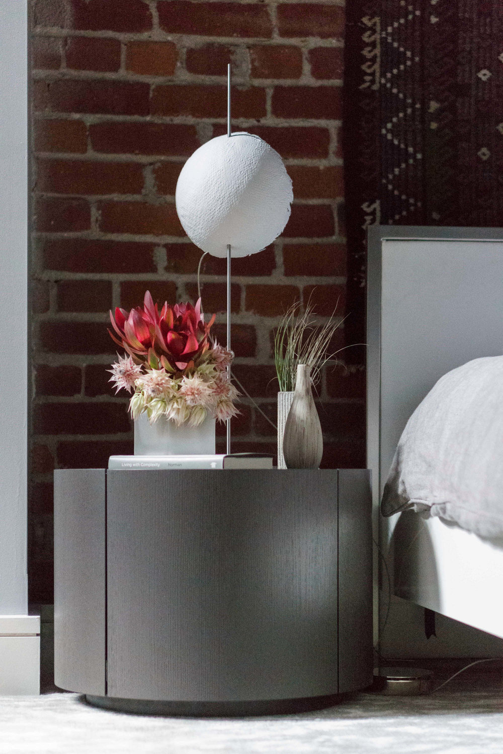 Bedroom Exposed Brick Modern Jennifer Gustafson SF Bay Designer